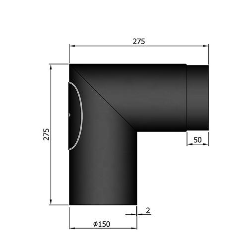 シングル煙突90°(点検口付)