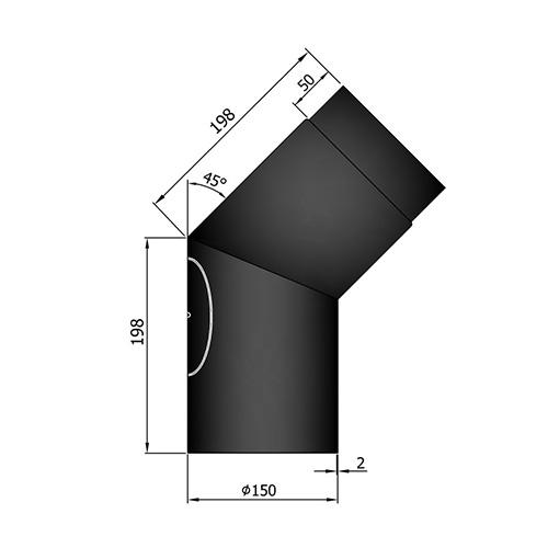 シングル煙突45°曲(点検口付)