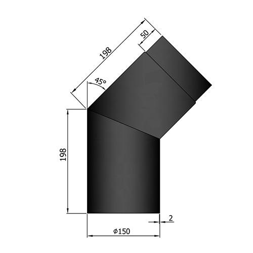 シングル煙突45°曲