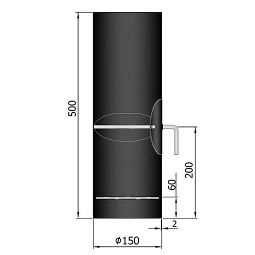 シングル煙突口元(ダンパー付)500mm