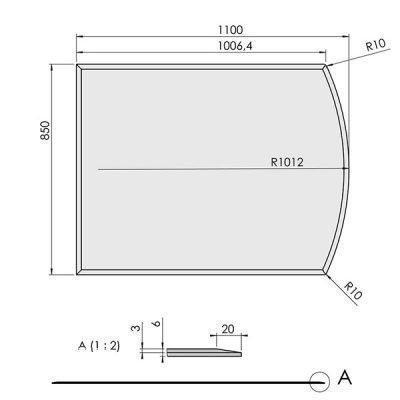 ガラスフロアプレート曲線形