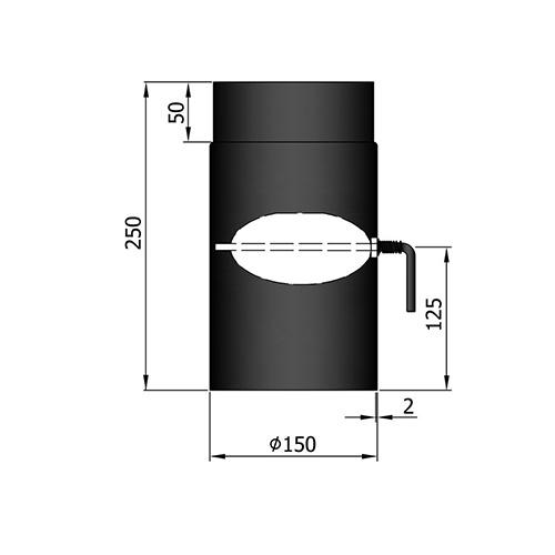 シングル煙突ダンパー250mm