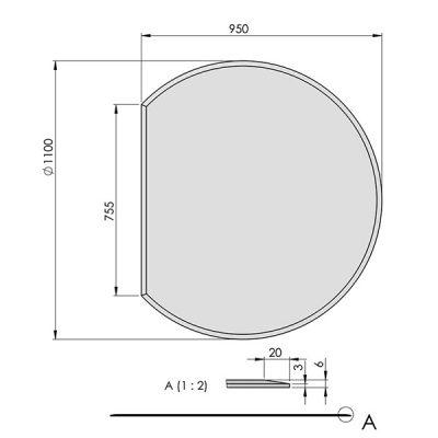 ガラスフロアプレート円形(ガラス炉台)