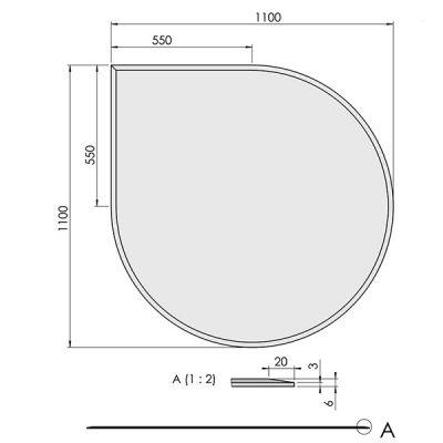 ガラスフロアプレート水滴形(ガラス炉台)