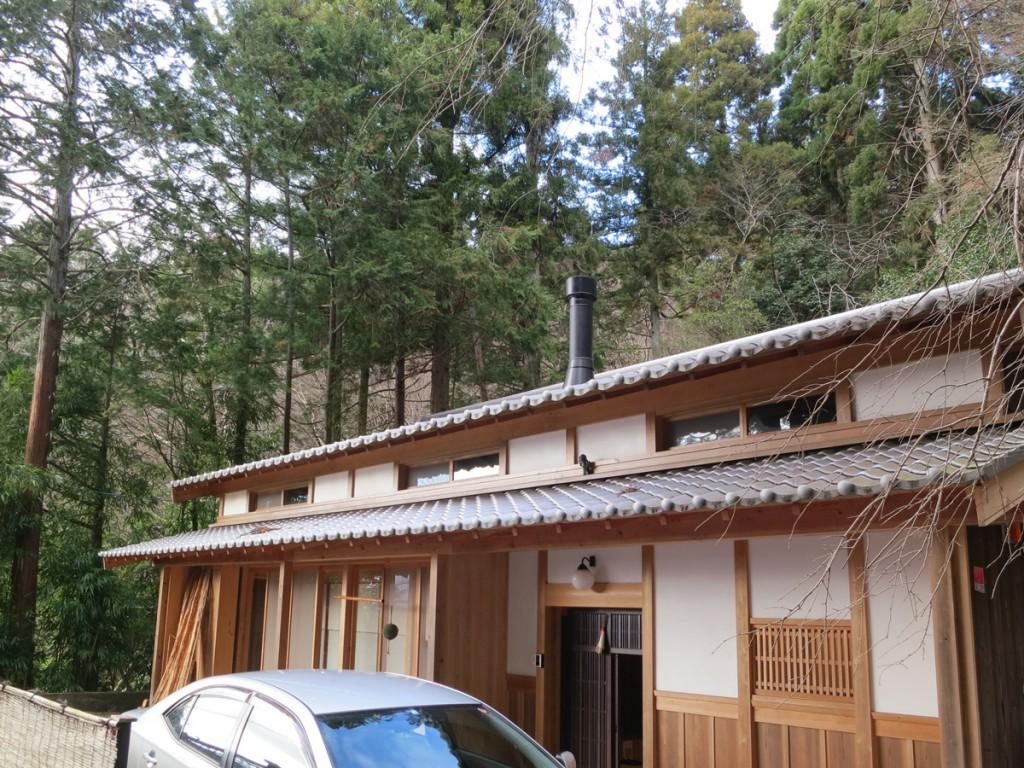 京町屋に薪ストーブ
