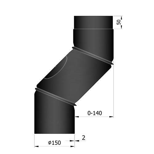 シングル煙突S曲 0-140mm オフセット